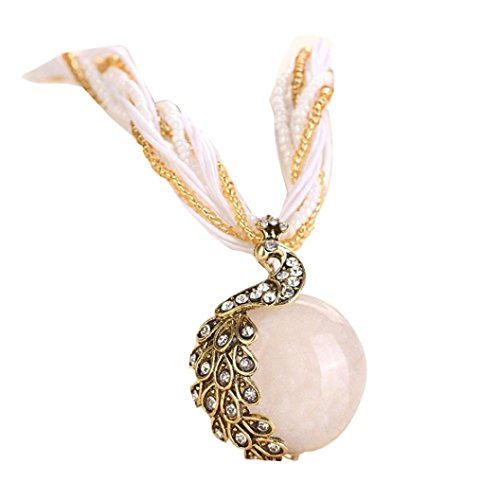 - Women's Pendant Necklace Laimeng Bohemian Womens Rhinestone Peacock Gem Pendant Statement Necklace (White)
