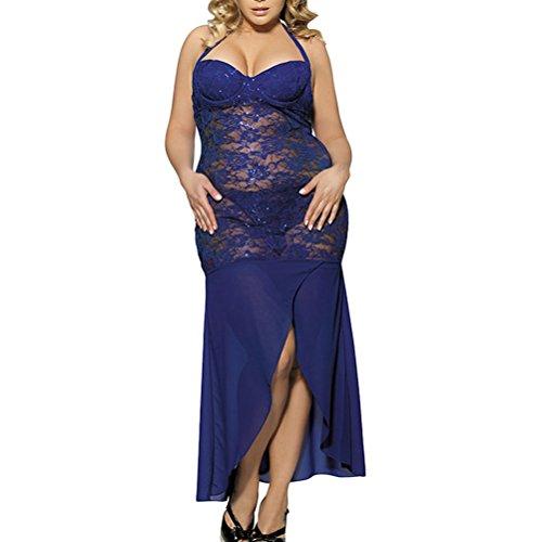 Zhhlaixing Temptation Lace Long Fun Pajamas Chic Women Lingerie Sleep Skirt Plus Size Blue