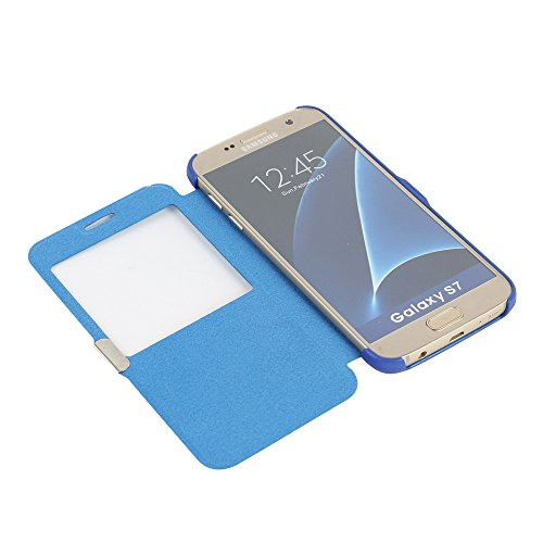 Funda Samsung Galaxy S5, MTRONX Cover Case Carcasa Caso Ultra Folio Flip Cuero Delgado Piel con Cierre Magnetico para Samsung Galaxy S5 - Morado(MG-PP) Azul