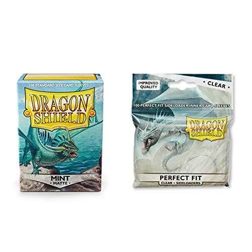 (Dragon Shield Matte Mint + Inner Sleeve Sideloader Clear Standard Size 100 ct Card Sleeves Bundle)