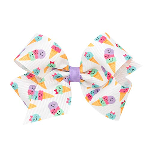 Wee Ones Medium Girl's & Baby Girl's Print Bow - Ice ()