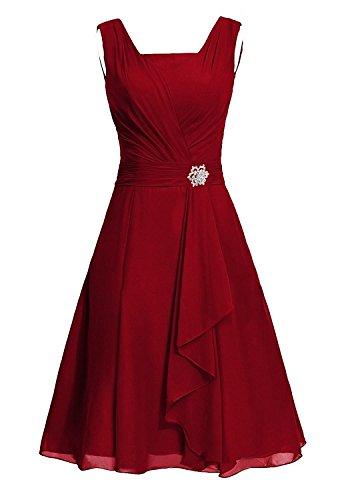 Dress Bridesmaid Square MaliaDress Dress M290LF Burgundy Women's Chiffon Party twqIrvqA