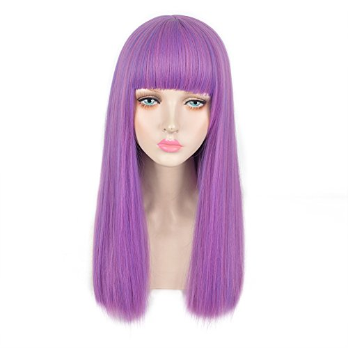 Combing A Costumes Wig (SiYi Kids Child Long Straight Purple Wig with Bangs Anime Cosplay Halloween Costume Wigs)