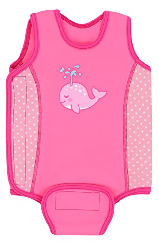 Aquawarm Whale Infant Girls' Neoprene Baby Warmer Swim Wetsuit, Pink (6-12 Months)
