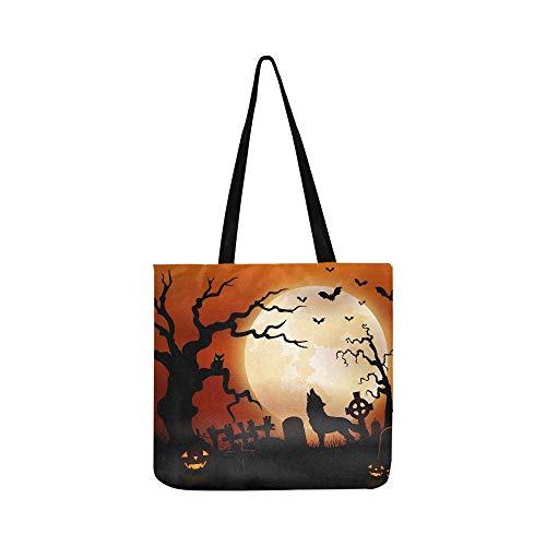 Halloween Night Wolf Pumpkins Owl Moon Canvas Tote Handbag Shoulder Bag Crossbody Bags Purses For Men And Women Shopping Tote ()