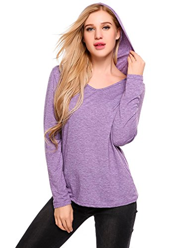 Elover Womens Casual Warm Thin Thermal Knitted Solid Hoodie Jacket (Purple, - Thermal 575