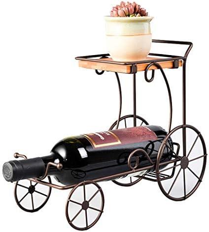CHUNSHENN ワイン収納 シャンパンホルダー ヴィンテージワインは、装飾ホームアイアンワインキャビネット表示ヨーロッパのレトロミニマリストスタイルの四輪車で花30 X 12.5 Xの24.5センチメートルラック 置物 実用的 工芸品