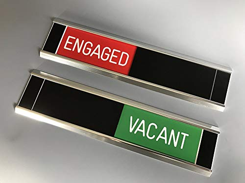 Sliding Door Signs - Entry Control - Engaged (RED) / Vacant (GREEN) /  Slider (BLACK) / Frame (SILVER)