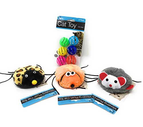 7 Piece Fun Cat Toy Bundle: Colorful 6 Pack Balls & Bells & 1 Assorted Vibrating Plush Cat Toy (Fun Catch Me If You Can Vibrating Interactive Toy) | Jingle Bells With Colorful Circle Balls (Abc 13 Days Of Halloween)