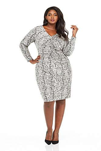 London Times Women's Plus Size Ruched Front Printed Velvet Sheath Dress (18W, Black/Grey)