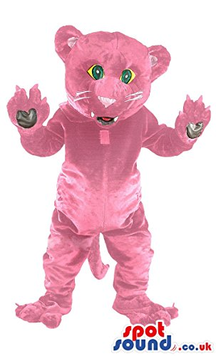 Panther Costume Suit Pink (Pink Panther SPOTSOUND US Mascot Costume with white whiskers and long dangling)