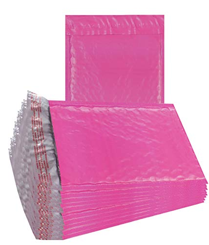25 Pack Poly Bubble mailers 8.5 x 11. Pink Padded Envelopes 8 1/2 x 11. Hot Pink Cushion Envelopes. Peel and Seal. Laminated Shipping Bags for Mailing, Packing. Packaging in Bulk, Wholesale Price.