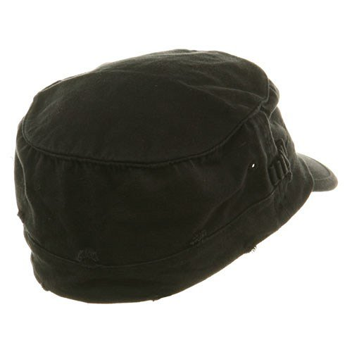 Washed Cotton Fitted Army Cap-Black W32S33F