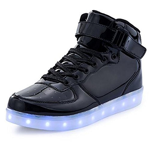 BeKing Kids High Top Light Up Shoes LED Flashing Sneakers For Boys Girls LMblack34