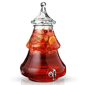 Christmas Tree Beverage Dispenser, 2 Gallons Thick Glass With Leak Free Spigot and Lift-Off Lid for Parties, Bars, Buffet or Drink Station
