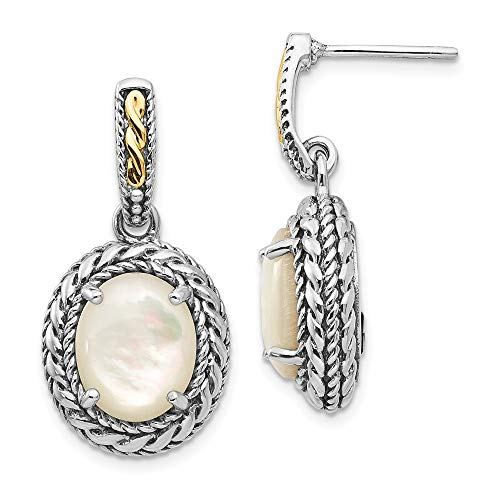 Roy Rose Jewelry Shey Couture Collection Sterling Silver with 14K Yellow Gold Antiqued MOP Post Dangle Earrings ()