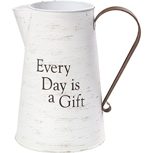 - Precious Moments Every Day is A Gift Rustic Farmhouse Distressed Metal Decorative Container & Vase Home Décor 173430