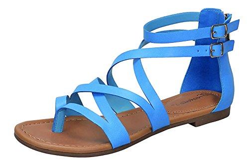 Breckelles Mujeres Open Toe Correa Para El Tobillo Jaula Recorte Flat Strappy Flats-sandals Blue
