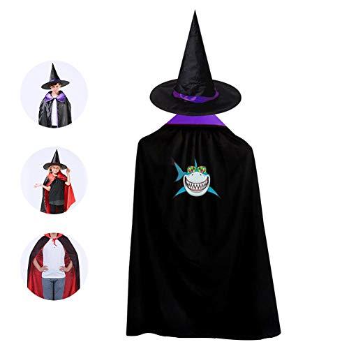 69PF-1 Halloween Cape Matching Witch Hat Smile Shark Wizard Cloak Masquerade Cosplay Custume Robe Kids/Boy/Girl Gift Purple]()