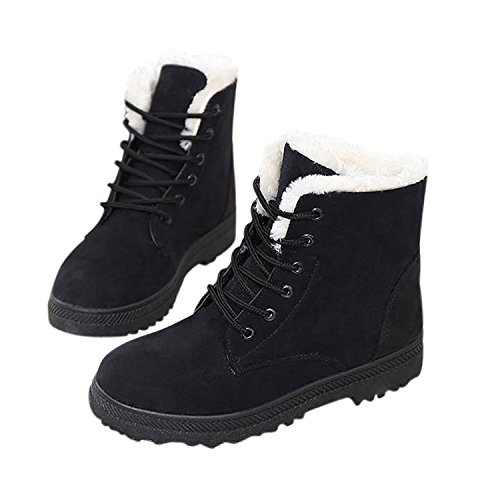 NOT100 Womens Snow Boots for Winter Ankle Boots Combat Walking Shoes Booties Black Vegan Size 9.5 9 1/2 by NOT100 (Image #3)
