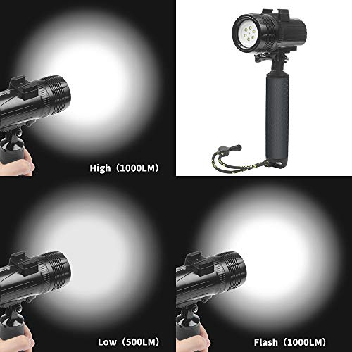 D&F Waterproof Torch LED Light 1000LM Diving 60m Video Flashlight Lamp for GoPro Hero 7/6/5/4/HERO(2018), AKASO,Campark,Crosstour,APEMAN and Other Action Sports Camera by D&F (Image #2)