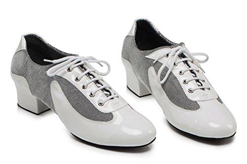 TDA Herren Vintage Classic Lace-up Round Toe Leder Salsa Tango Ballsaal Latin Modern Dance Schuhe Weiß
