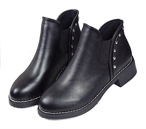 Boots Snow Women's Ankle British Leather PPXID Black Boots Short Girl's d8Xqnxwp