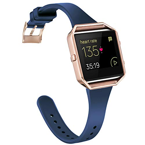 Amcute Compatibe for Fitbit Blaze Band Slim Narrow Thin Silicone Replacement Wristband with Metal Frame for Fitbit Blaze Bands Women Men Small Large (Navy Blue&Rose Gold, Small)