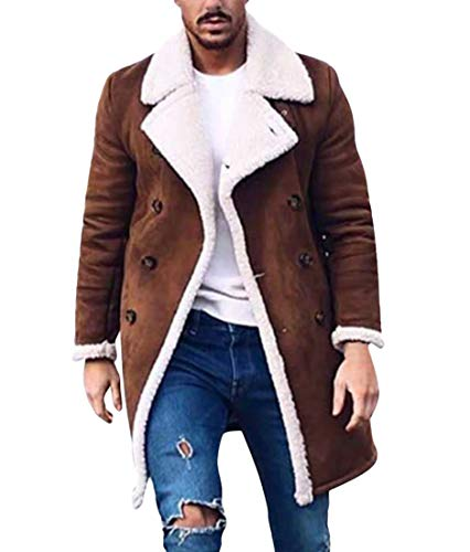 JXG Men Sherpa Coat with Faux Fur Lining Winter Warm Suede Leather Jacket Brown US XL