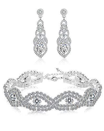 Hanpabum Bridal Wedding Jewelry Set Women Bracelets Dangle Teardrop Earrings Set Women Jewelry Made Clear Crystals (Earings Bracelets)