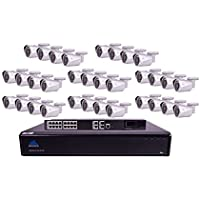 Montavue MTIP832632B 32 Channel 4K Ultra HD NVR Security System with 32 4 MP IP Bullet Security Cameras, 6TB HDD and 130 Color Night Optics