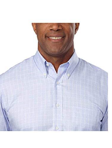 affordable Kirkland Signature Men's Traditional Fit Dress Shirt, Blue Window Pane (16 x 32/33)