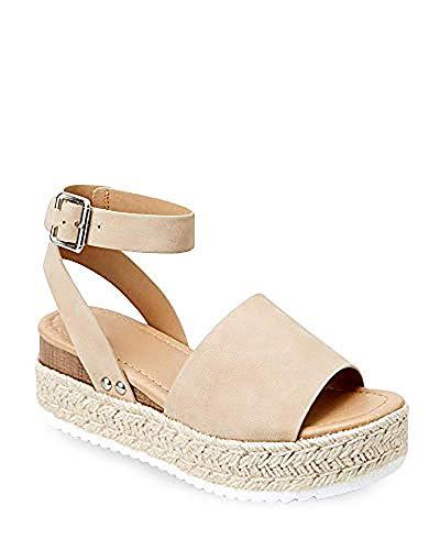 (Ermonn Womens Peep Toe Platform Wedge Sandals Espadrille Ankle Strap Mid Heel Braided Sandals)