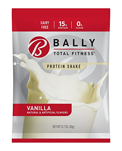 BALLY TOTAL FITNESS, Protein Powder, Vanilla, 16 Packets, 15g Protein, Soy-Free
