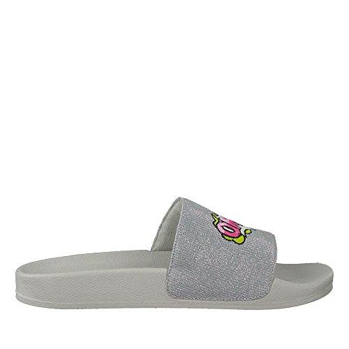 27502-20 Damen Modische Pantolette Aus Textilmaterial Leiche Laufsohle Silber