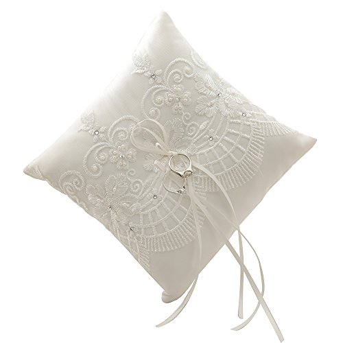 Amajoy 19x19 cm Satin and Lace Wedding Ring Pillow Cushion Embellished with Bow , 7.5 Inch Ring Bearer for Beach Wedding, Wedding (Ivory Satin Ring Pillow)