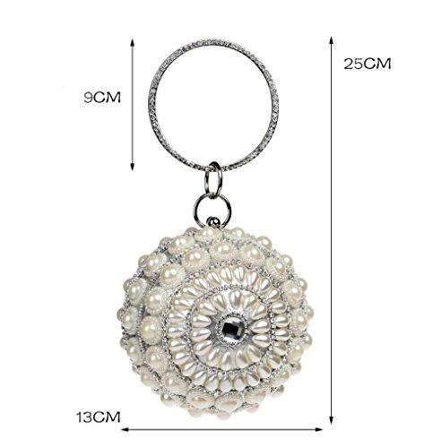 For Bag Purse Silver Party Glitter Spherical Evening Handbag Wedding Bridal Diamante Prom Shoulder Pearl Clubs Bag Ladies Gift Clutch Women wH5Eqx6PH