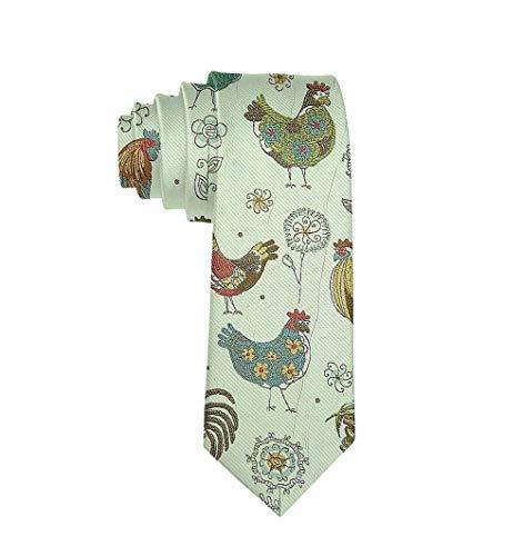 Mens Luxury Polyester Textile Neckties Classic Formal Suiting Chicken Mural Neck Ties Wedding Prom Necktie