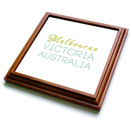 3dRose Alexis Design - Australian Cities - Melbourne Victoria national colors patriot Australia home town design - 8x8 Trivet with 6x6 ceramic tile (trv_309228_1)