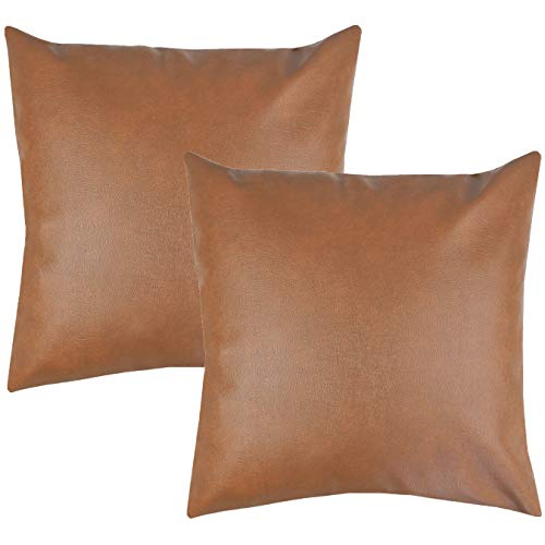 Decorative Modern Pillow (Woven Nook Decorative Throw Pillow COVERS ONLY For Couch, Sofa, or Bed Set Of 2 18 x 18 inch Modern Quality Design 100% Faux Leather MILO by)