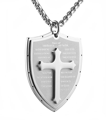 HZMAN Shield Armor of God Ephesians 6:16-17 Faith (Cross) Stainless Steel Pendant Necklace (Silver) -