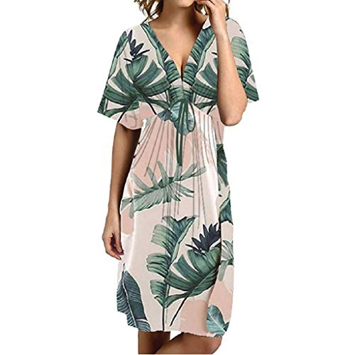 Caopixx Women Summer Dress Boho Sexy Botanical Floral Print Casual Dress V-Neck Short Sleeved Dress White