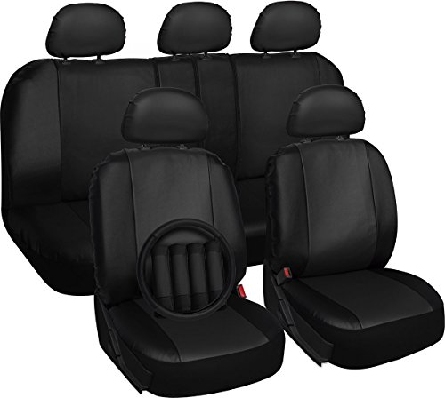 Oxgord 17Pc Pu Leather Solid Black Car Seat Cover Set   Airbag   Front Low Back Bucket   Universal Fit For Car  Truck  Suv  Van   Steering Wheel Cover
