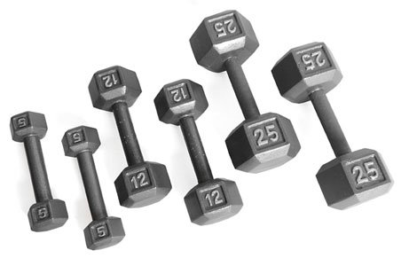 Grey Solid Hex Dumbbell Weight