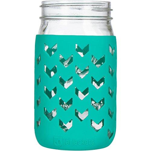JarJackets Silicone Mason Jar Sleeve - Fits 32oz (1 quart) WIDE-Mouth Jars ... (1, Lagoon)