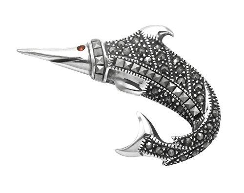 Sterling Silver & Marcasite Swordfish - Marcasite Gold Brooch