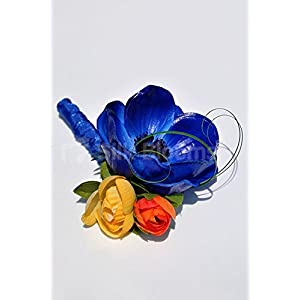 Colourful Buttonhole with Vibrant Anemones and Roses 4