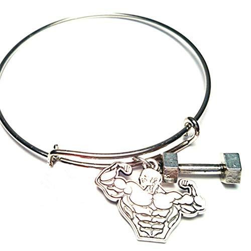 Body Building Bangle Bracelet | Adjustable Barbell Charm Bracelet Jewelry | Weight Lifter Muscle Body (12pcs/lot)]()