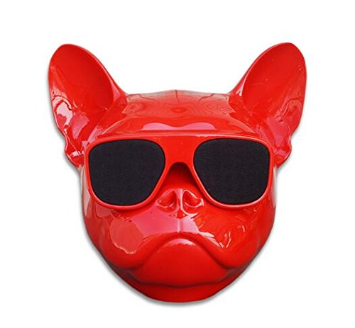 - Portable Wireless Bulldog Bluetooth Speaker for Desktop PC/Laptop Notebook/Mobile Phone/MP3/MP4 Player (Red)