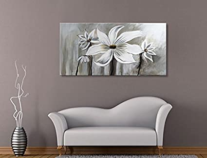 Amazon.com: Seekland Art Hand Painted Large Flower Oil Painting on ...